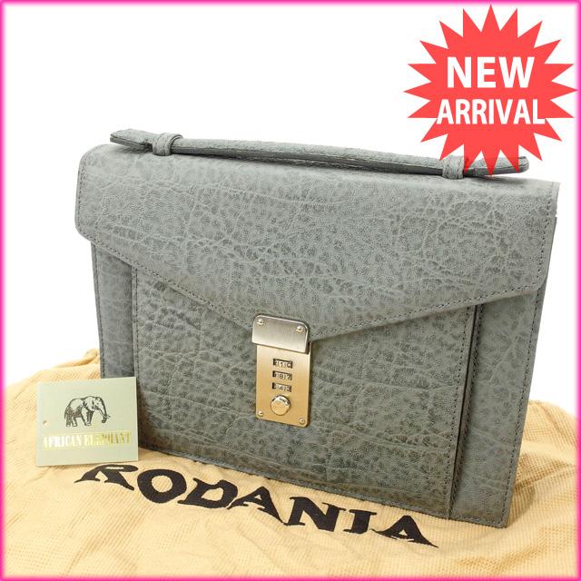 【中古】 ロダニア RODANIA ハンドバッグ クラッチバッグ メンズ可 グレー 象皮 D1253 .