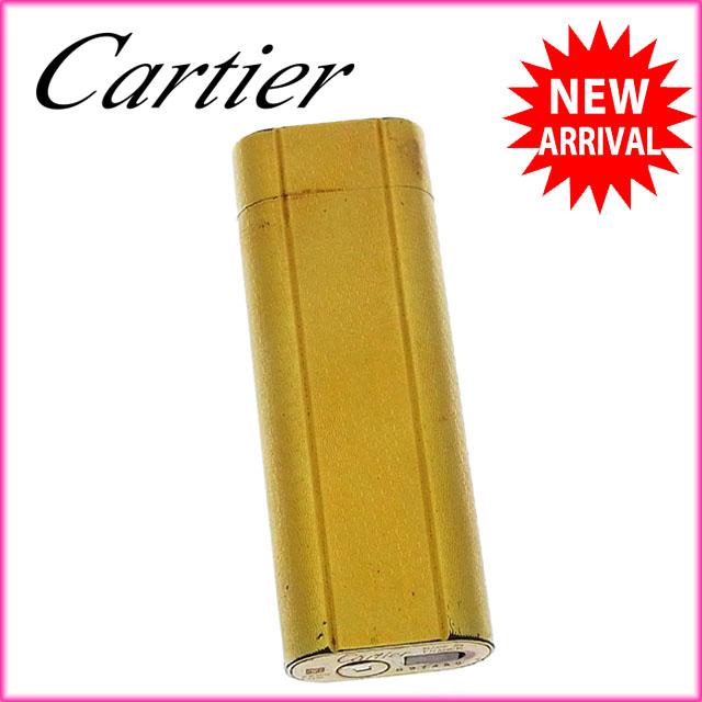 【中古】 カルティエ Cartier ライター メンズ可 レザーケース付き ゴールド×ブラック ゴールドメタル×レザー (あす楽対応)良品 Y2592 .
