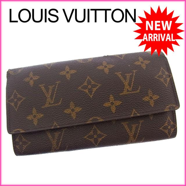 【中古】 ルイヴィトン Louis Vuitton 長札入れ 二つ折り メンズ可 ポルト円3カルトクレディ モノグラム M61818 ブラウン モノグラムキャンバス (あす楽対応)激安 Y2662 .