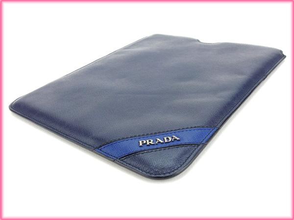 프라다 PRADA iPad 사례 망가 해군 PVC× 가죽 (대응) 상태 최상 A914.