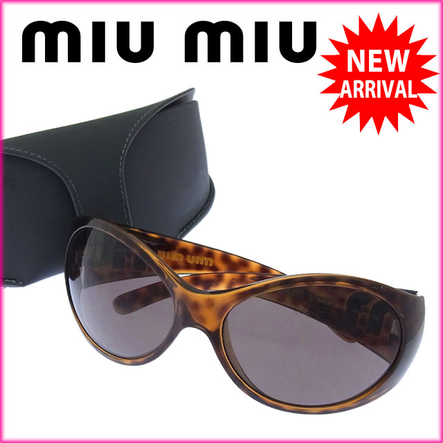 e951bfd7c8 Miu Miu miumiu sunglasses glasses Womens side logo with oval-tortoiseshell  pattern brown   beige × silver plastic with cheap sale H226