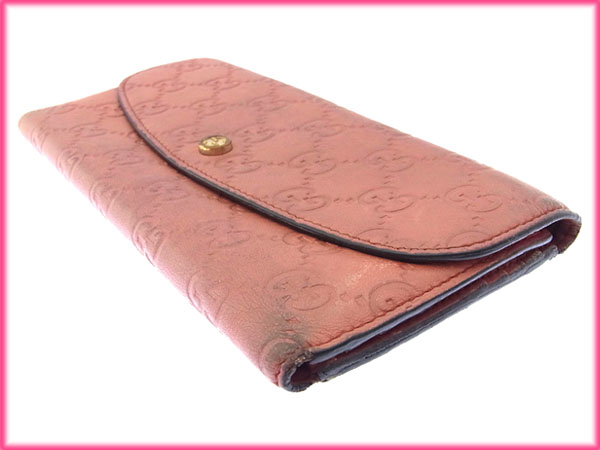 f887a81030a Gucci GUCCI long Wallet Zipper tri-fold women s double G with guccissima  pink   gold leather with cheap sale I227