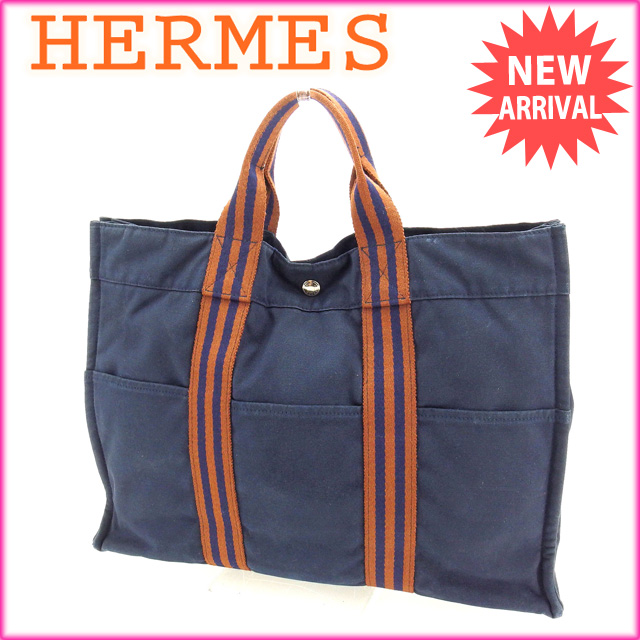 cd2a419ea8c5f1 100% of Hermes HERMES tote bag handbag men's possible fool toe Thoth MM  fool toe navy X brown cotton (correspondence) deep-discount sale P175.
