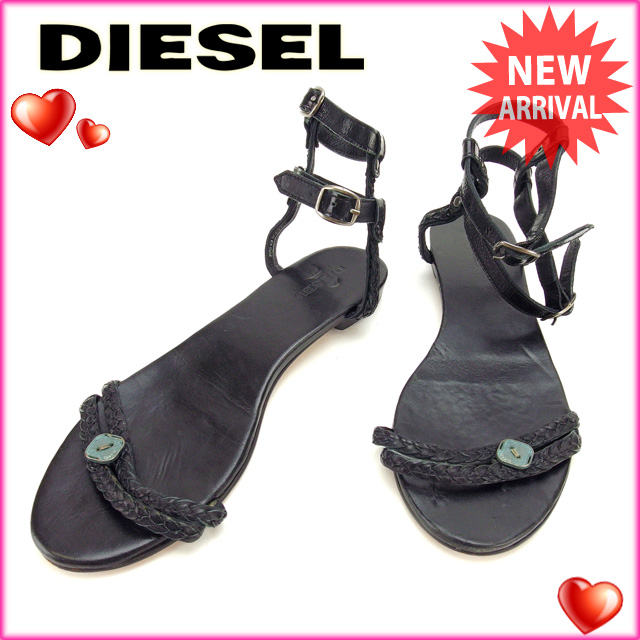 Diesel DIESEL sandals shoes shoes Lady's ♯ 38 ankle strap logo button black  system leather (correspondence) popularity sale L406.