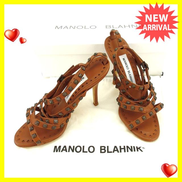 【中古】 マノロブラニク MANOLO BLAHNIK サンダル #34 1 2 レディース ブラウン レザー C1997 .