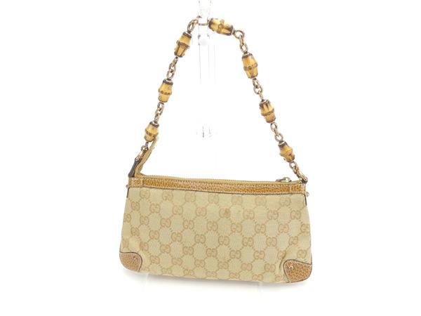 611790773746 ... Gucci GUCCI shoulder bag accessories porch Lady's bamboo shoulder GG  canvas 124289 beige X natural X ...