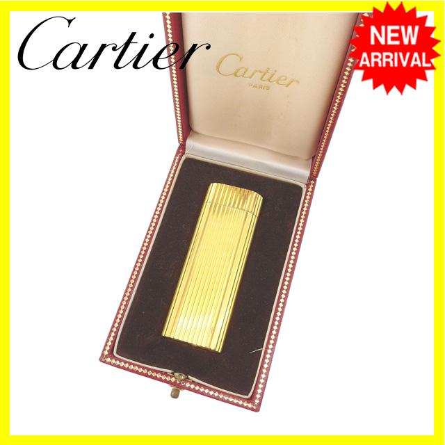 【中古】 カルティエ Cartier ライター 男女兼用 ゴールド ゴールドメッキ (あす楽対応) Y4083 .