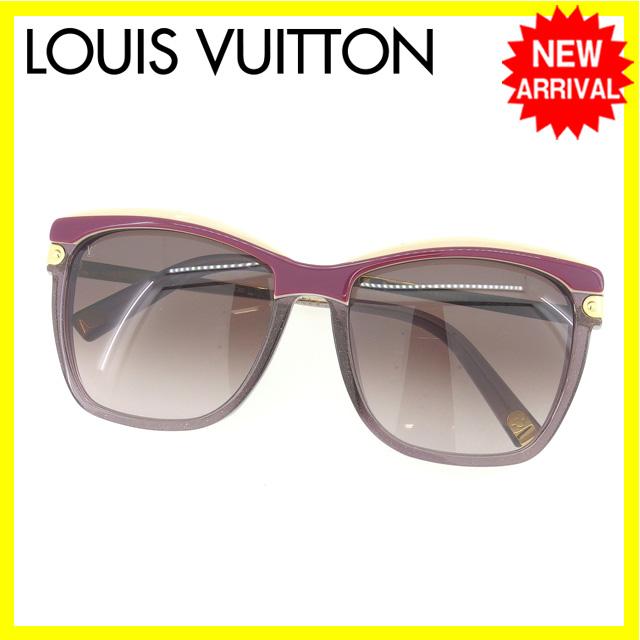 【中古】 ルイヴィトン Louis Vuitton サングラス メガネ レディース ウエリントン型 Z0600E パープル×ゴールド系 プラスティック×ゴールド金具 (あす楽対応)良品 S176 .
