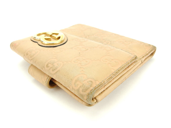 970202b44e1a 中古】 グッチ GUCCI Wホック財布 二つ折り財布 レディース グッチシマ ...
