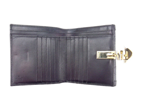 Gucci by GUCCI purse two bi-fold wallet belt clip with horsebit black x Gold Leather Mint C2488 ★