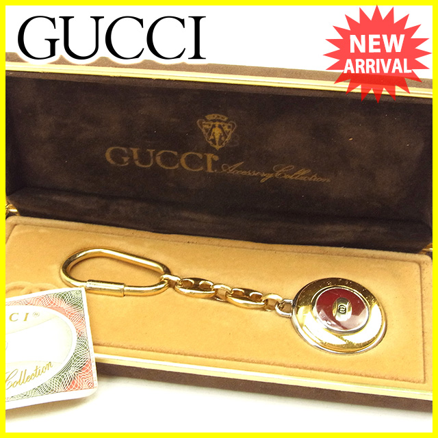 【中古】 グッチ Gucci キーホルダー キーリング レディース メンズ 可 インターロッキング ゴールド×シルバー×ボルドー ゴールド ヴィンテージ T671 .