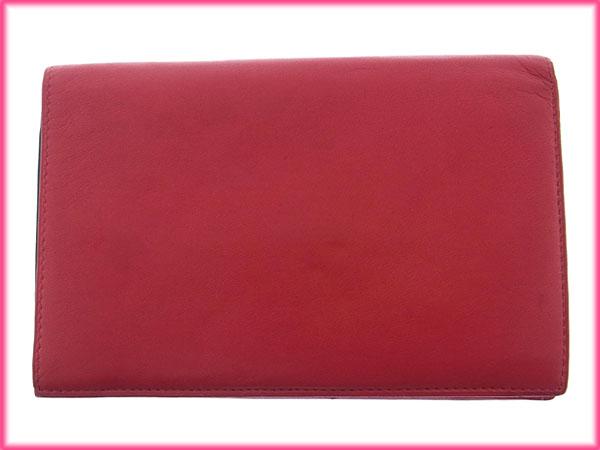 1259a80c1321 【中古】 ロエベ LOEWE 二つ折り財布 中長財布 メンズ可 アナグラム レッド×ブラック レザー (あす楽対応)激安 Y1878 .-レディース財布