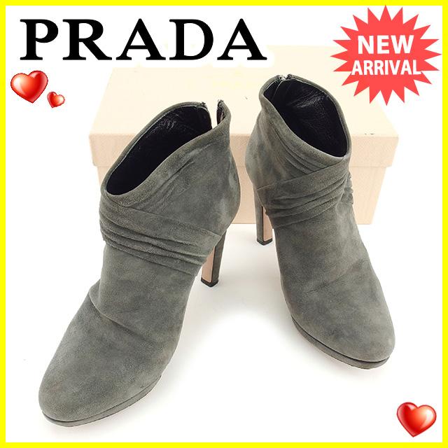 【中古】 プラダ PRADA ブーツ シューズ 靴 レディース ♯37ハーフ ショートブーツ グレー スエード 訳あり T847 .