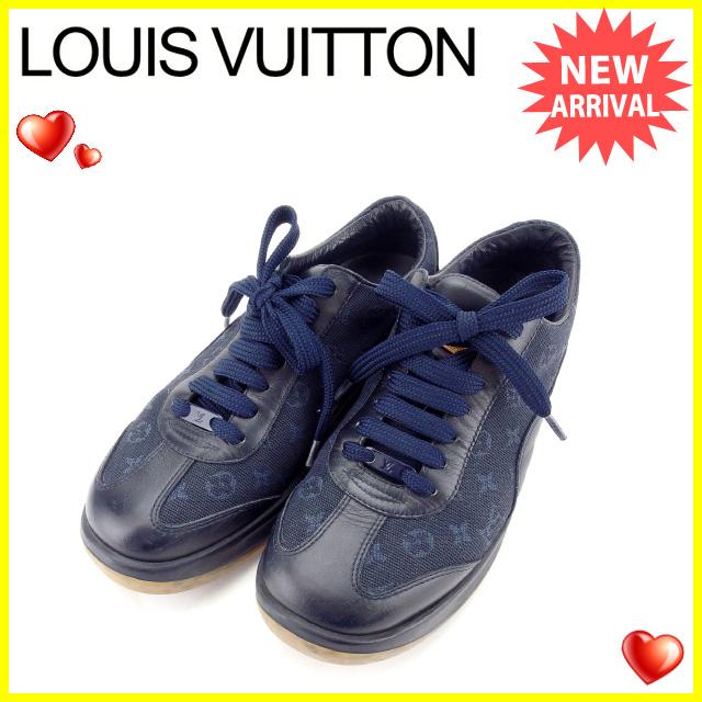 【中古】 ルイヴィトン Louis Vuitton スニーカー シューズ 靴 レディース ♯35ハーフ モノグラムミニ ネイビー キャンバス×レザー (あす楽対応)人気 Y4841 .
