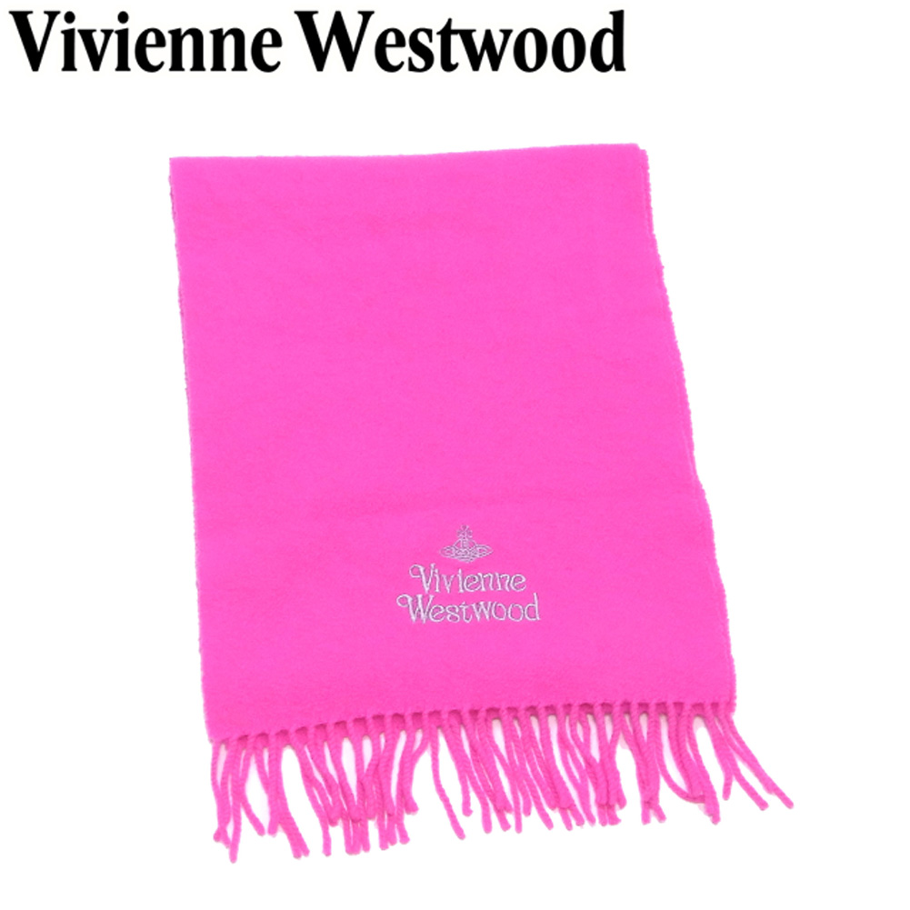 【中古】 ヴィヴィアン ウエストウッド Vivienne Westwood マフラー フリンジ付き メンズ可 ピンク グレー 灰色 ウール 毛 B1103
