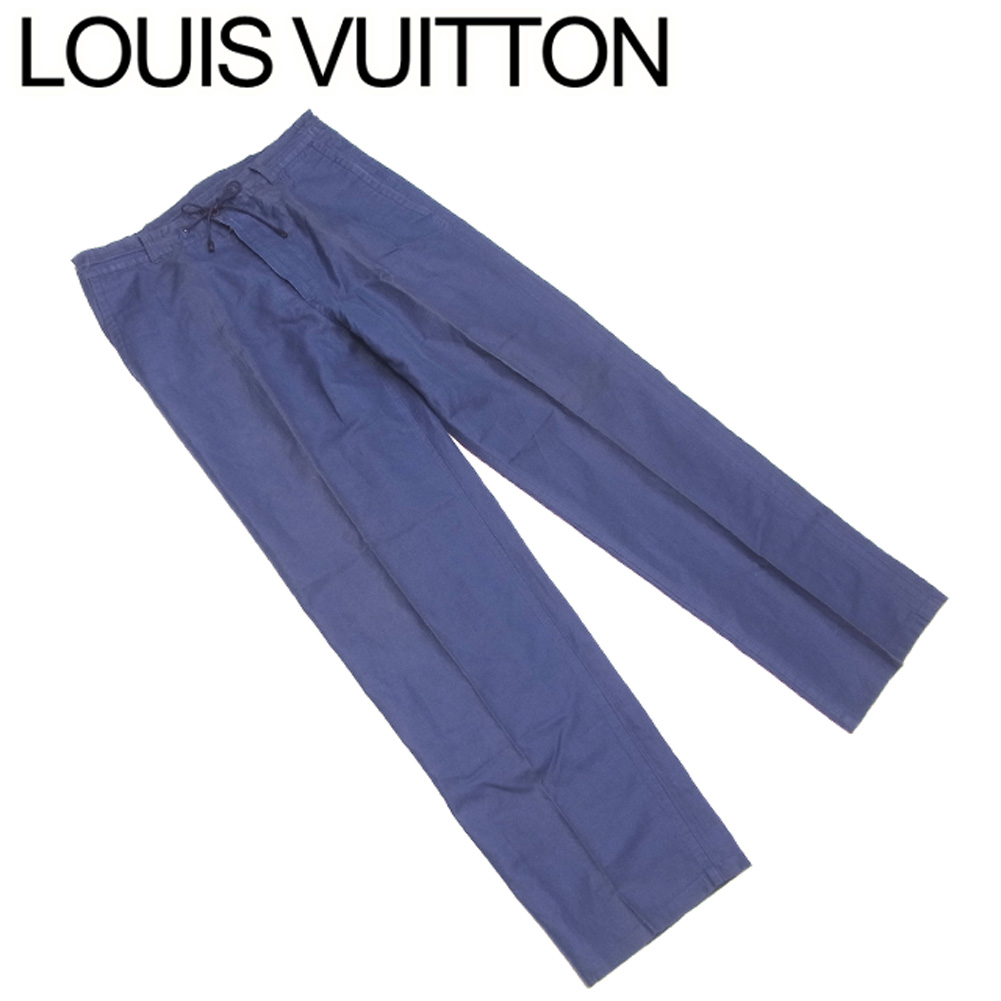 【中古】 ルイ ヴィトン Louis Vuitton パンツ センタープレス ボトムス メンズ可 ♯40サイズ ネイビー 指定外繊維 ラミー コットン 綿 C3877 .