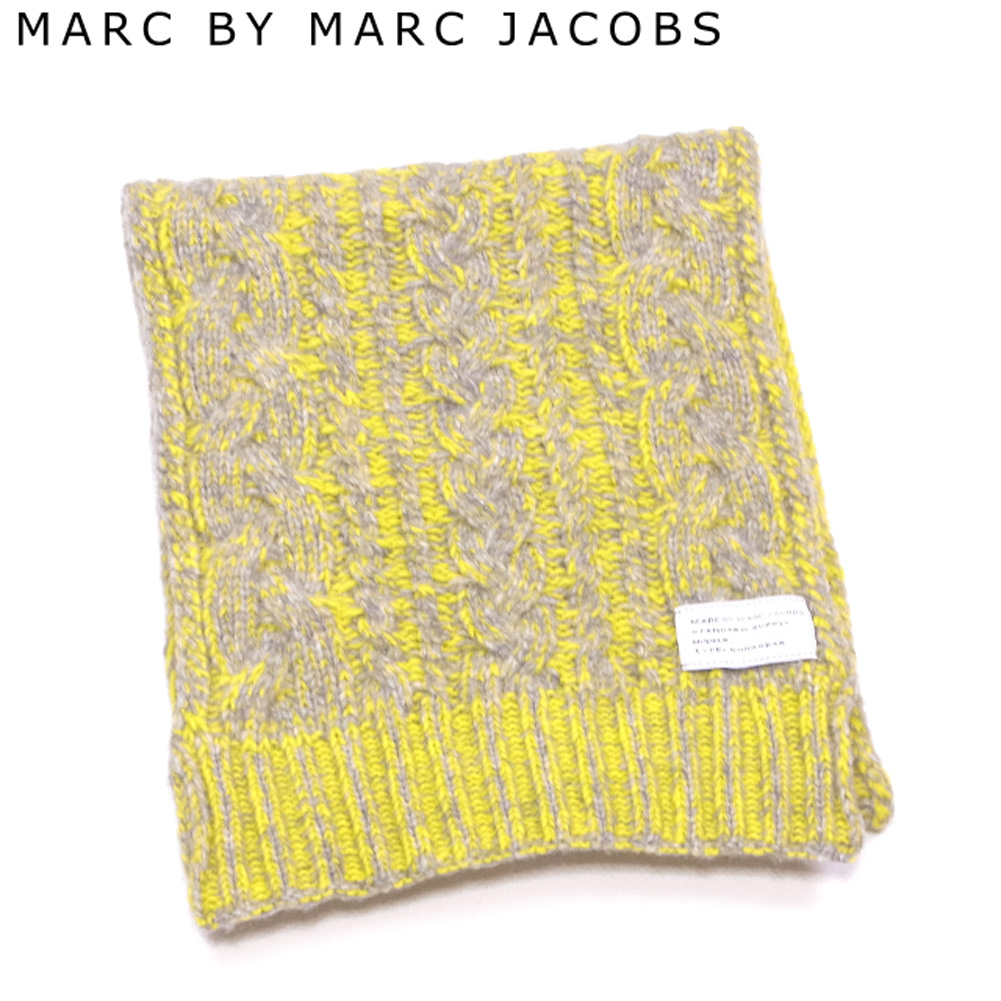 【中古】 マークバイ マークジェイコブス MARC BY MARC JACOBS マフラー メンズ可 イエロー グレー 灰色 ウール 毛 ナイロン C3897 .