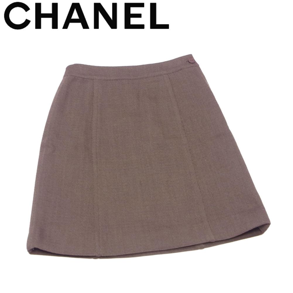 【値引きクーポン】 【中古】 シャネル CHANEL スカート 台形 ボトムス メンズ可 ♯36サイズ ブラウン ウール 毛 T18006 .