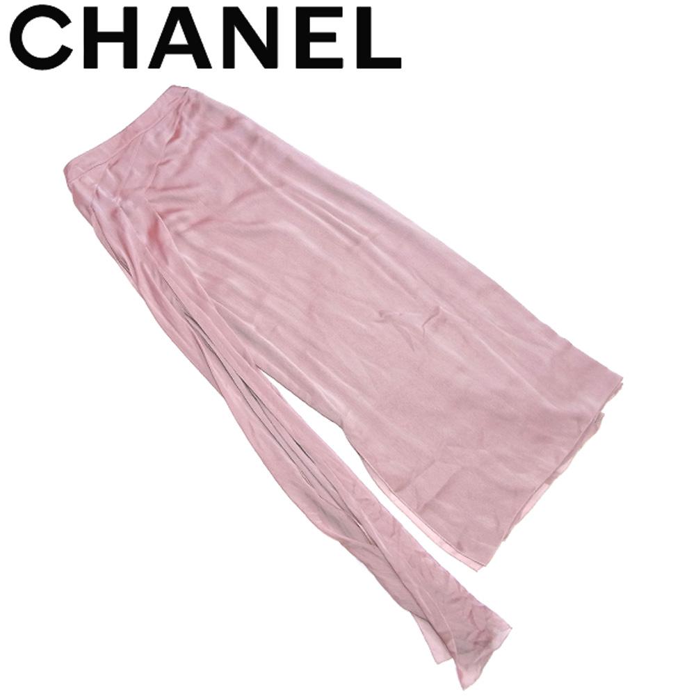 【中古】 シャネル CHANEL スカート サイドスリット入り ボトムス メンズ可 ♯38サイズ ロング ピンク グリーン系 ポリエステル T18066