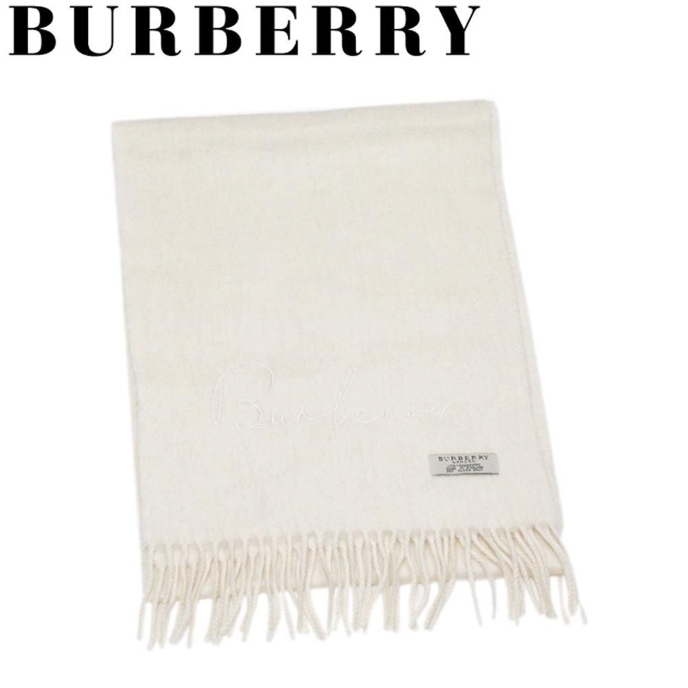 【中古】 バーバリー マフラー フリンジ付き レディース メンズ ロゴ刺繍 ホワイト 白 カシミア BURBERRY L3237 A