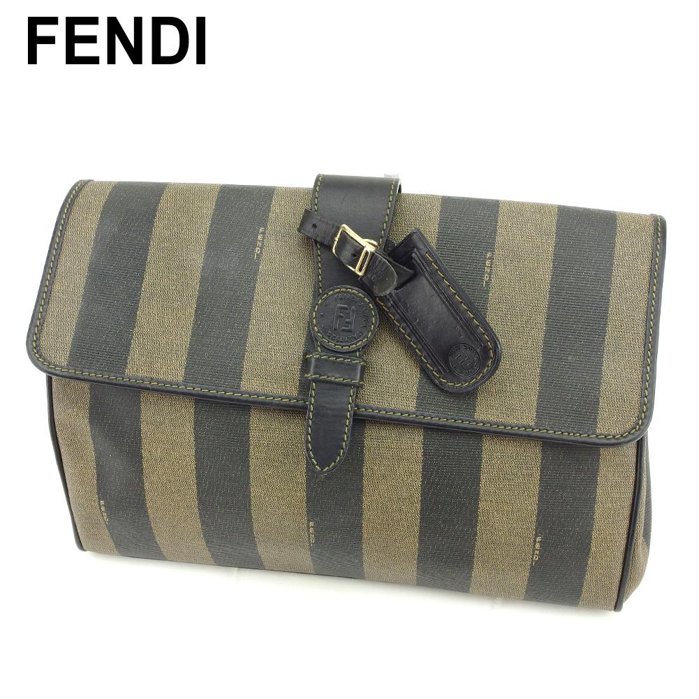 【中古】 フェンディ FENDI クラッチバッグ セカンドバッグ レディース メンズ ペカン ブラック ベージュ PVC×レザー 人気 良品 B1001