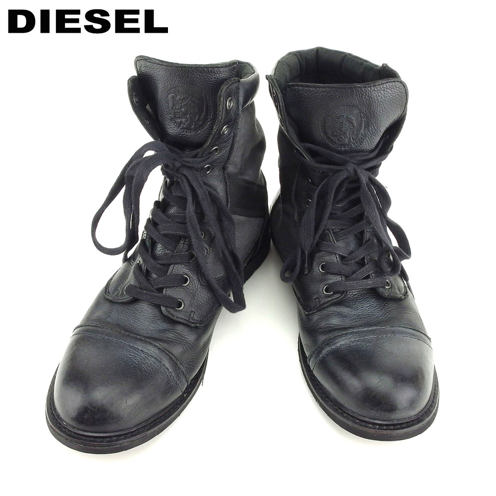 fababd3ff10 Knit diesel DIESEL boots shoes shoes; men's #28 black gray gray canvas X  leather popularity sale B983