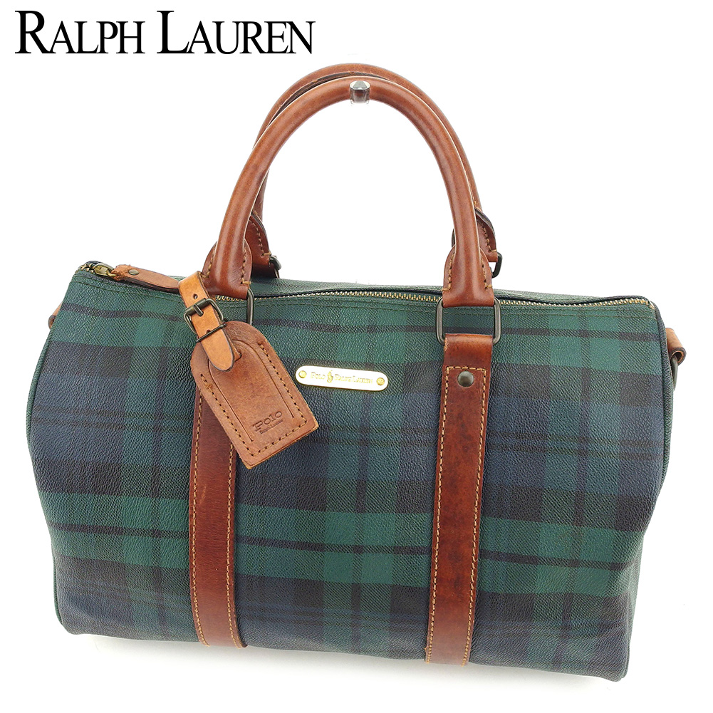 c3ebd43e8986 Ralph Lauren RALPH LAUREN Boston bag mini-Boston bag Lady s men check brown  green PVC X leather popularity sale B991