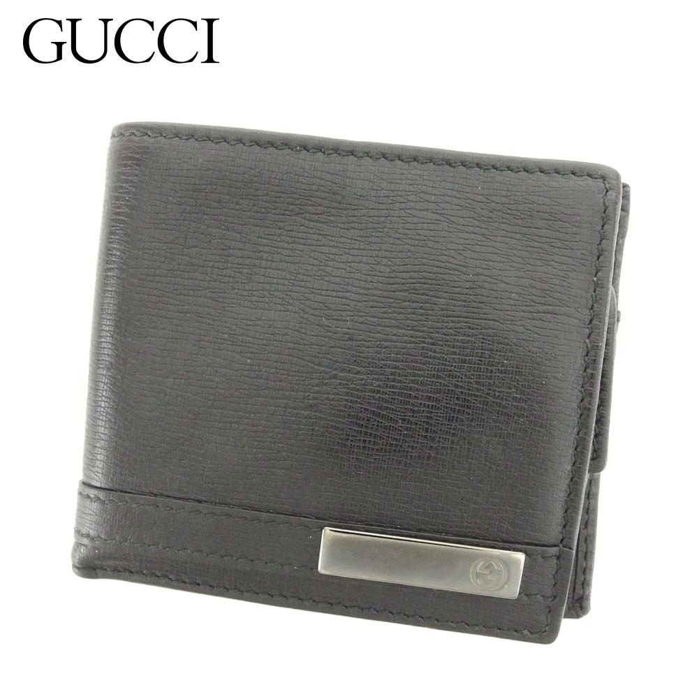 【中古】 グッチ GUCCI 二つ折り 財布 レディース メンズ  ブラック レザー 人気 良品 B999