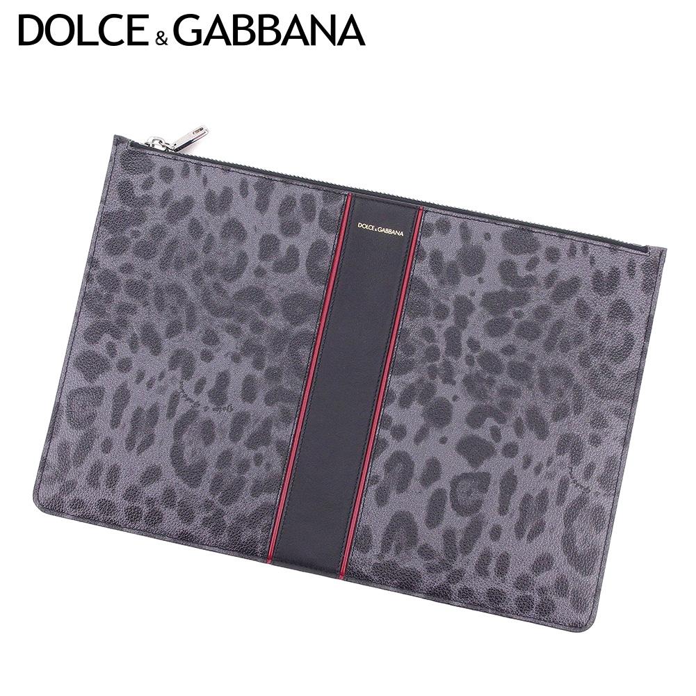 【中古】 ドルチェ&ガッバーナ Dolce&Gabbana クラッチバッグ ポーチ セカンドバッグ レディース メンズ レオパード グレー 灰色 ブラック PVC×レザー 超美品 セール C3478