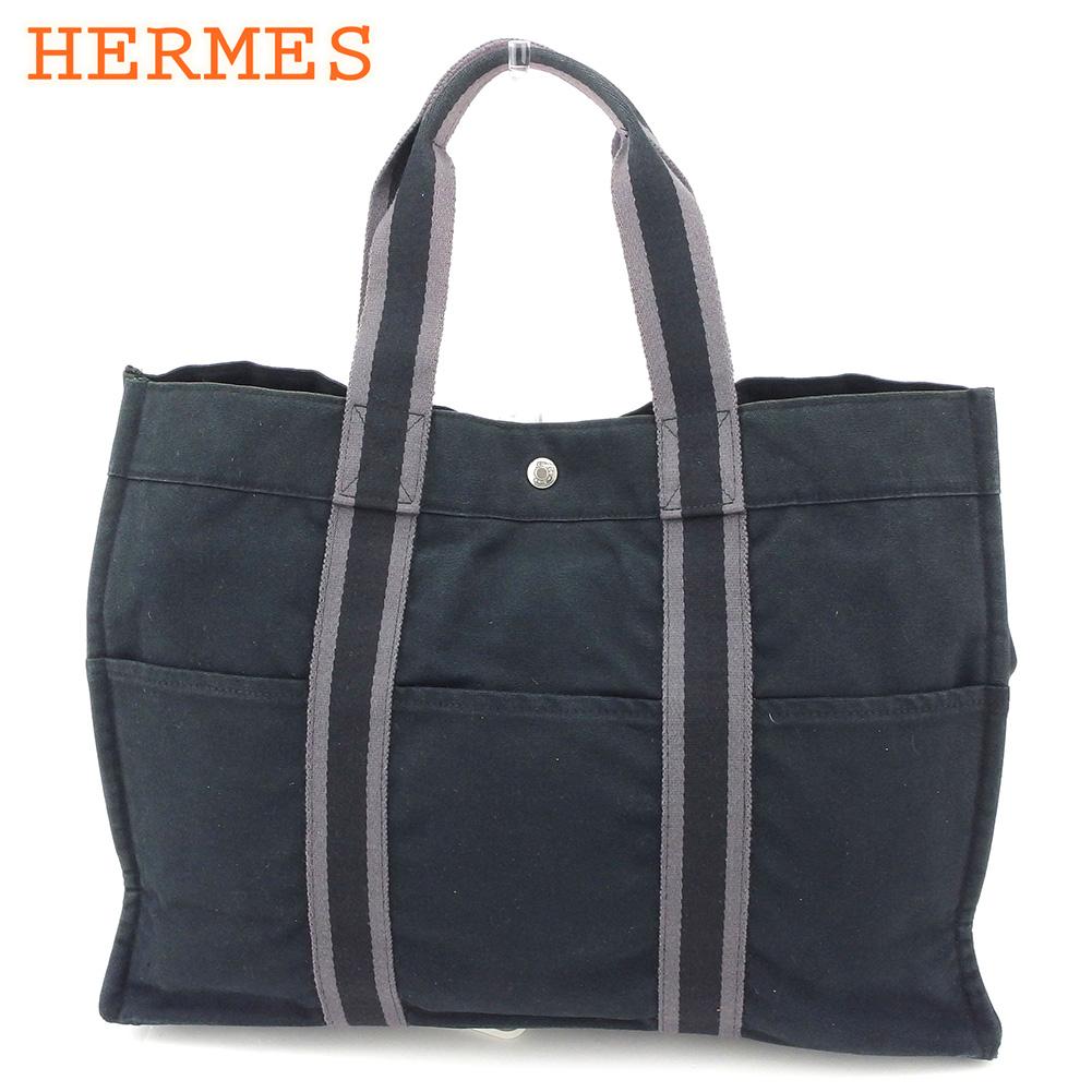 【中古】 エルメス HERMES トートバッグ ハンドバッグ レディース メンズ フールトゥトートGM フールトゥ ブラック グレー 灰色 綿100% 人気 セール C3480