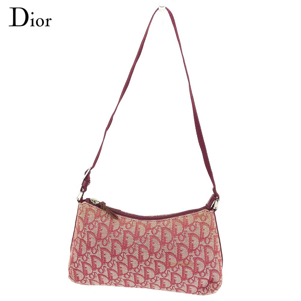 【中古】 ディオール Dior ショルダーバッグ ワンショルダー レディース トロッター ボルドー キャンバス 人気 セール C3517