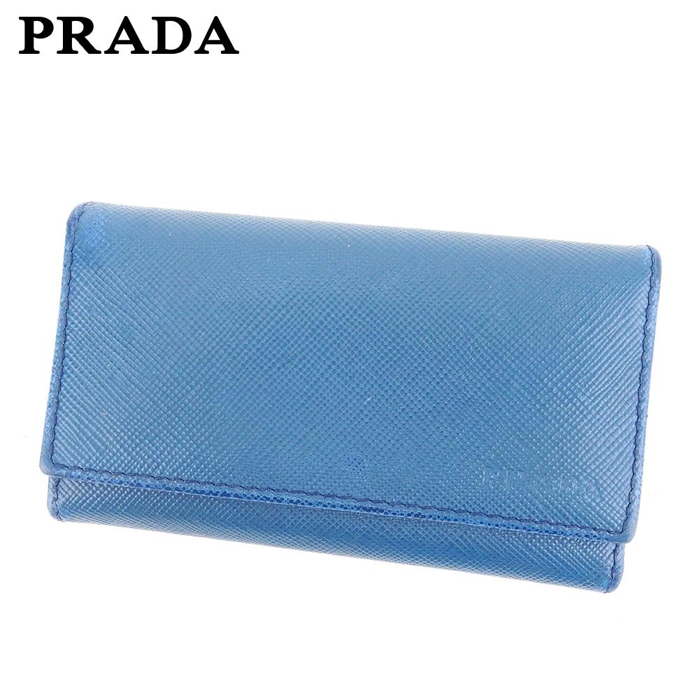 【中古】 プラダ PRADA キーケース 6連キーケース レディース メンズ  ブルー レザー 人気 セール C3524