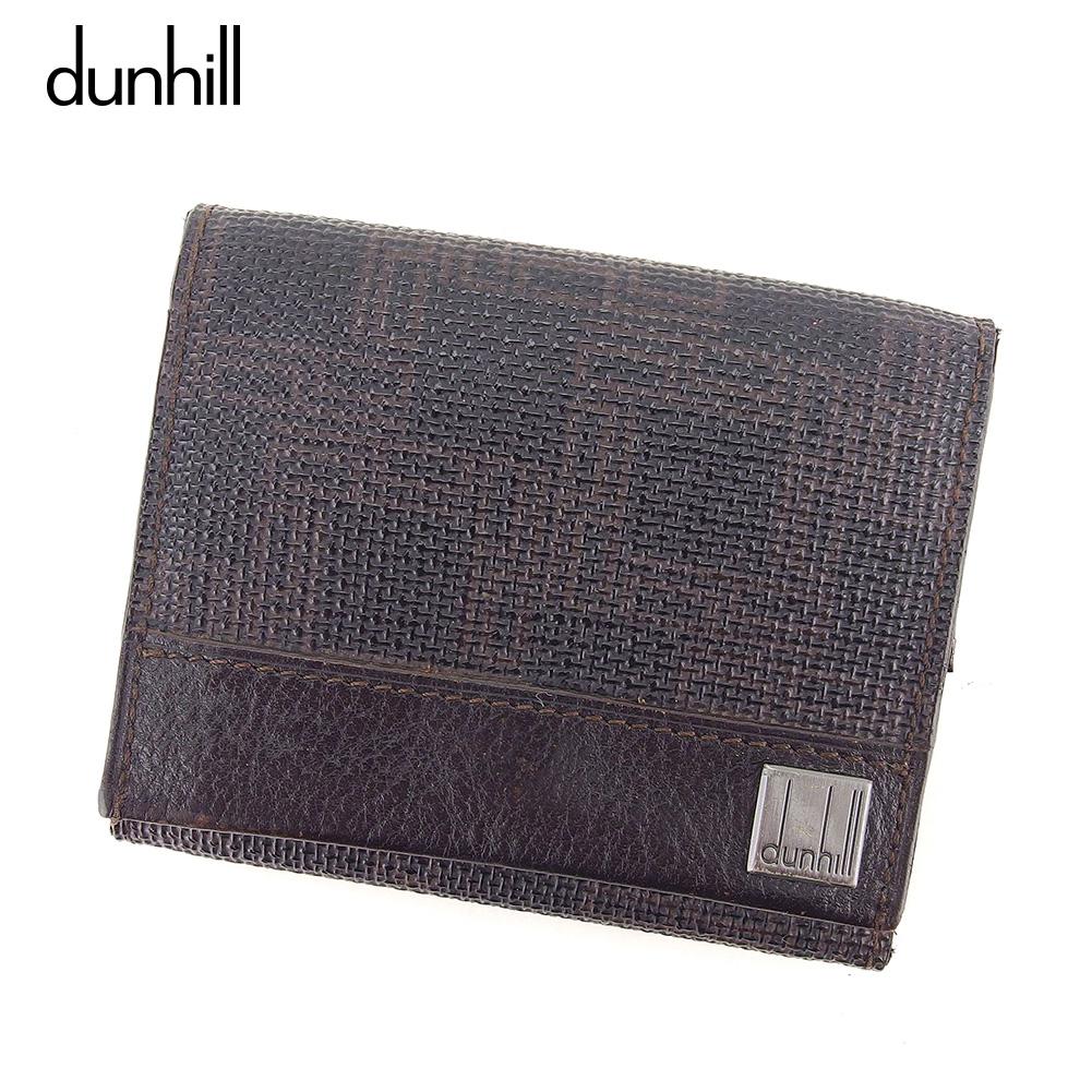 【中古】 ダンヒル dunhill コインケース 小銭入れ メンズ ディーエイト ブラック ブラウン PVC×レザー 人気 セール C3526 .