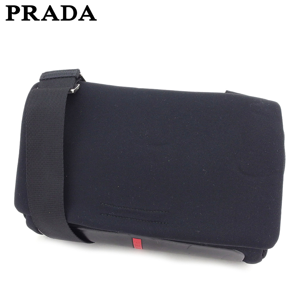 644b1d6ad3 Prada PRADA shoulder bag one shoulder Lady s men black nylon X leather  popularity sale C3531