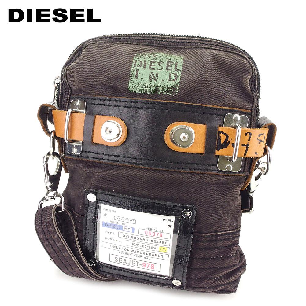 【中古】 ディーゼル DIESEL ショルダーバッグ 斜めがけショルダー レディース メンズ  ブラック キャンバス×レザー 人気 セール C3532