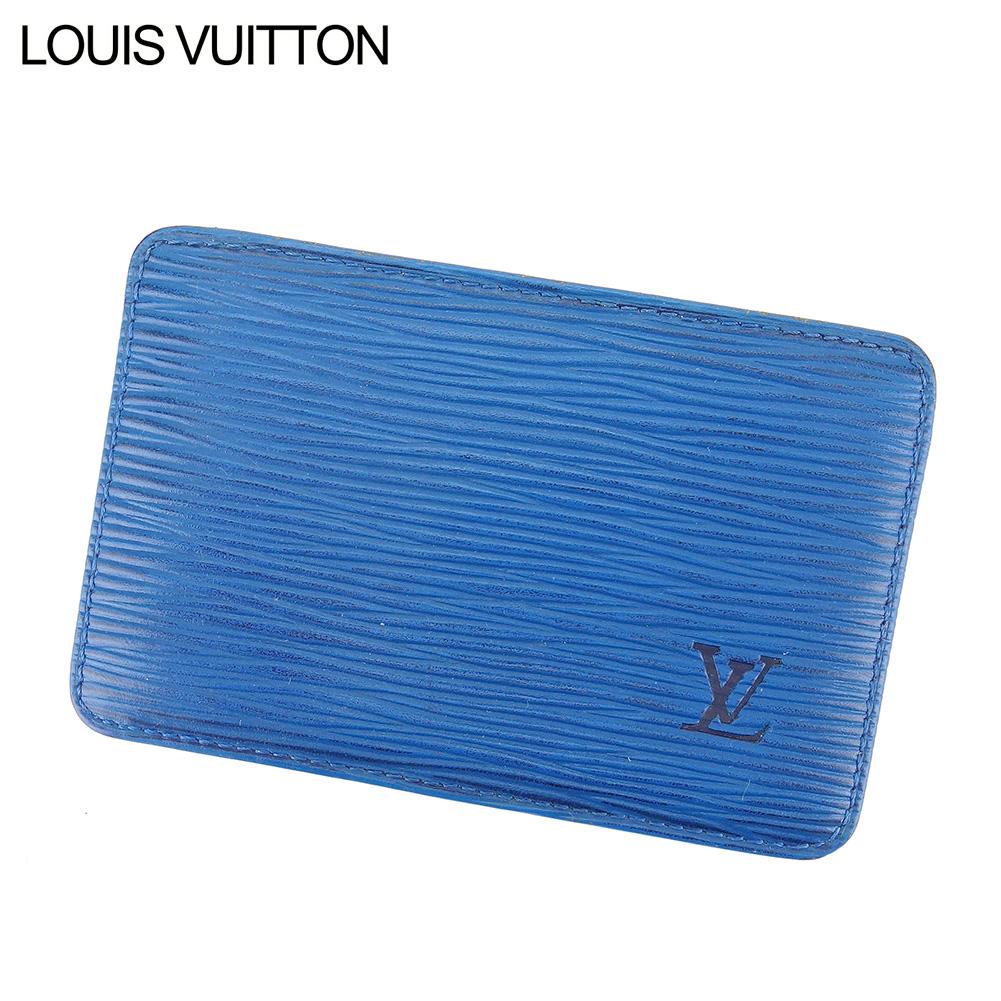 【中古】 ルイ ヴィトン Louis Vuitton カードケース 名刺入れ レディース メンズ ポルト カルト・サーンプル ブルー PVC×レザ- C3537 .