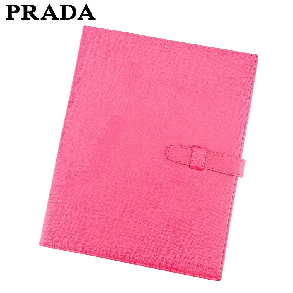 【中古】 プラダ PRADA ステーショナリーケース 書類ケース レディース  ピンク レザー 人気 良品 E1337