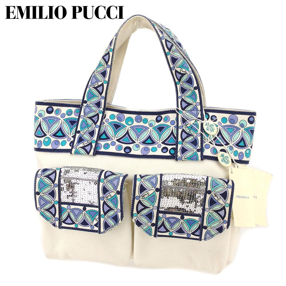 【中古】 エミリオ プッチ EMILIO PUCCI トートバッグ ハンドバッグ メンズ可 プッチ柄 ホワイト 白 ブルー キャンバス 人気 セール E1352 .