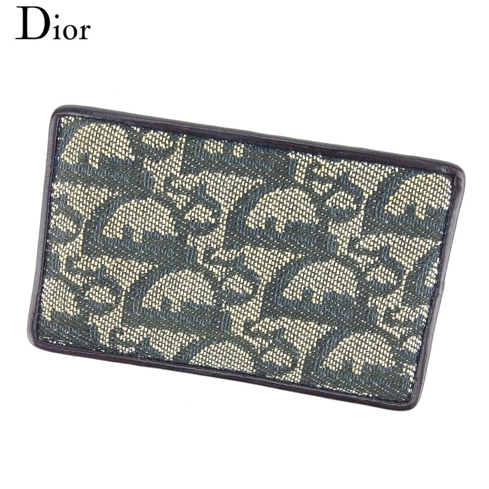 【中古】 ディオール Dior カードケース 名刺入れ パスケース レディース トロッター ネイビー ベージュ キャンバス×レザー 人気 セール E1357