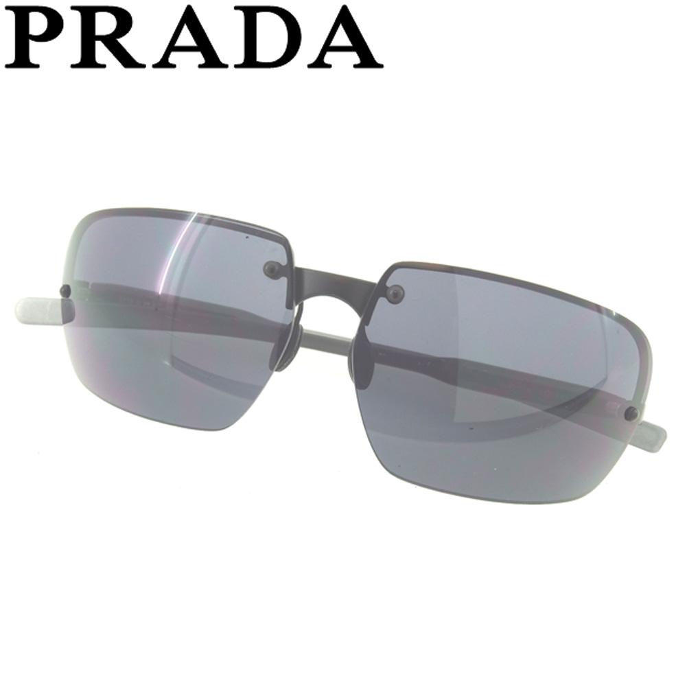 【中古】 プラダ サングラス メガネ アイウェア ハーフリム ブラック プラスチック PRADA F1367