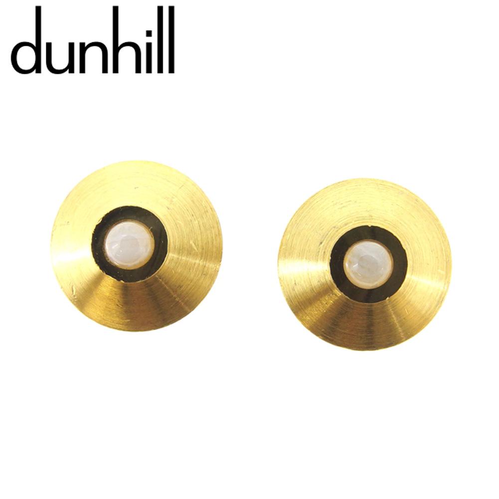 【中古】 ダンヒル dunhill カフス カフリンクス メンズ ゴールド ホワイト 白 ゴールド金具 F1382 .