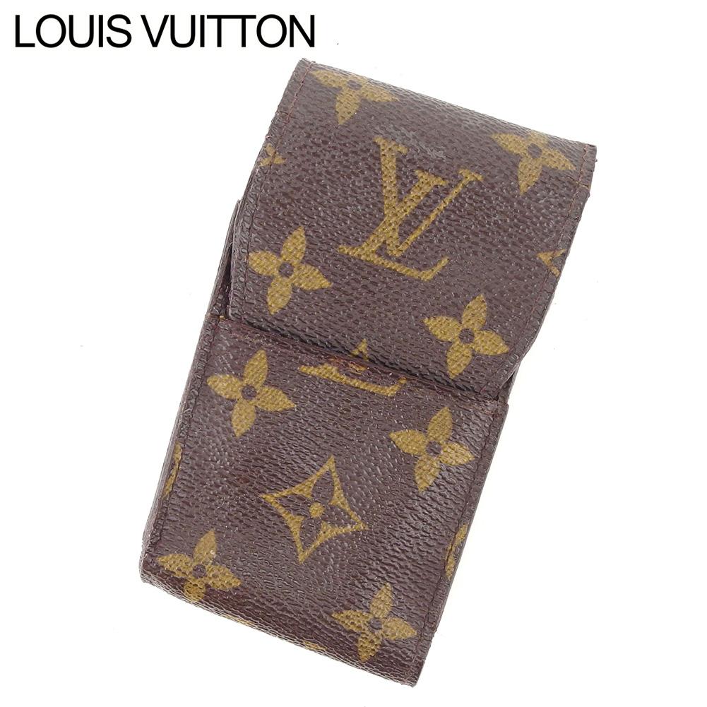 【中古】 ルイ ヴィトン Louis Vuitton シガレットケース タバコケース レディース メンズ エテュイシガレット ブラウン モノグラムキャンバス I527