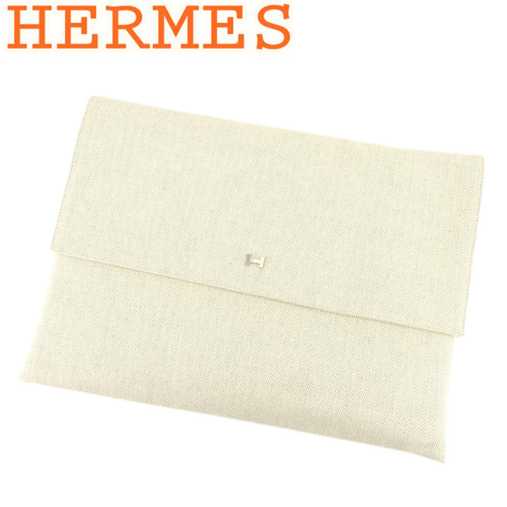 【中古】 エルメス HERMES ポーチ トラベルポーチ レディース メンズ Hマーク付き ヘリンボーン ベージュ シルバー コットンキャンバス 美品 セール T8151