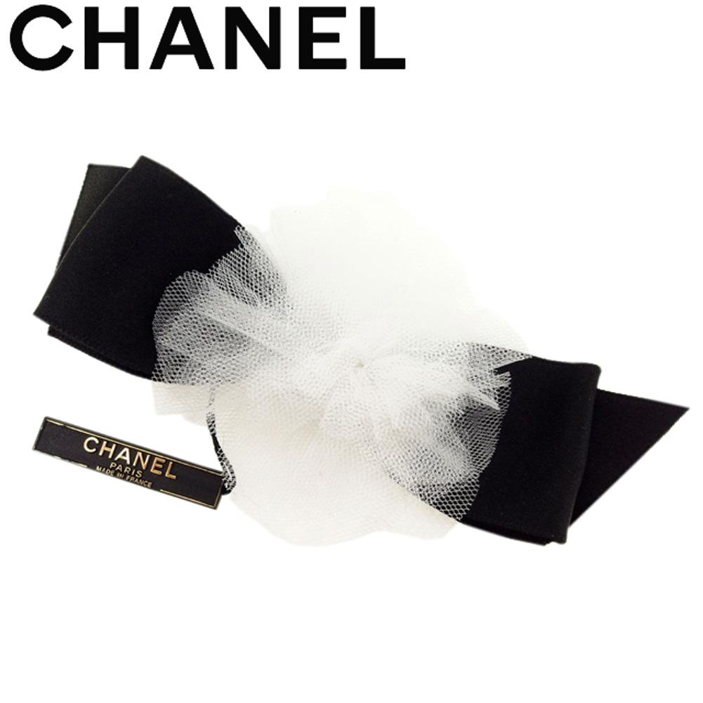 【中古】 シャネル CHANEL ブローチ ピンブローチ レディース リボン カメリア ホワイト 白 ブラック 美品 セール T8157