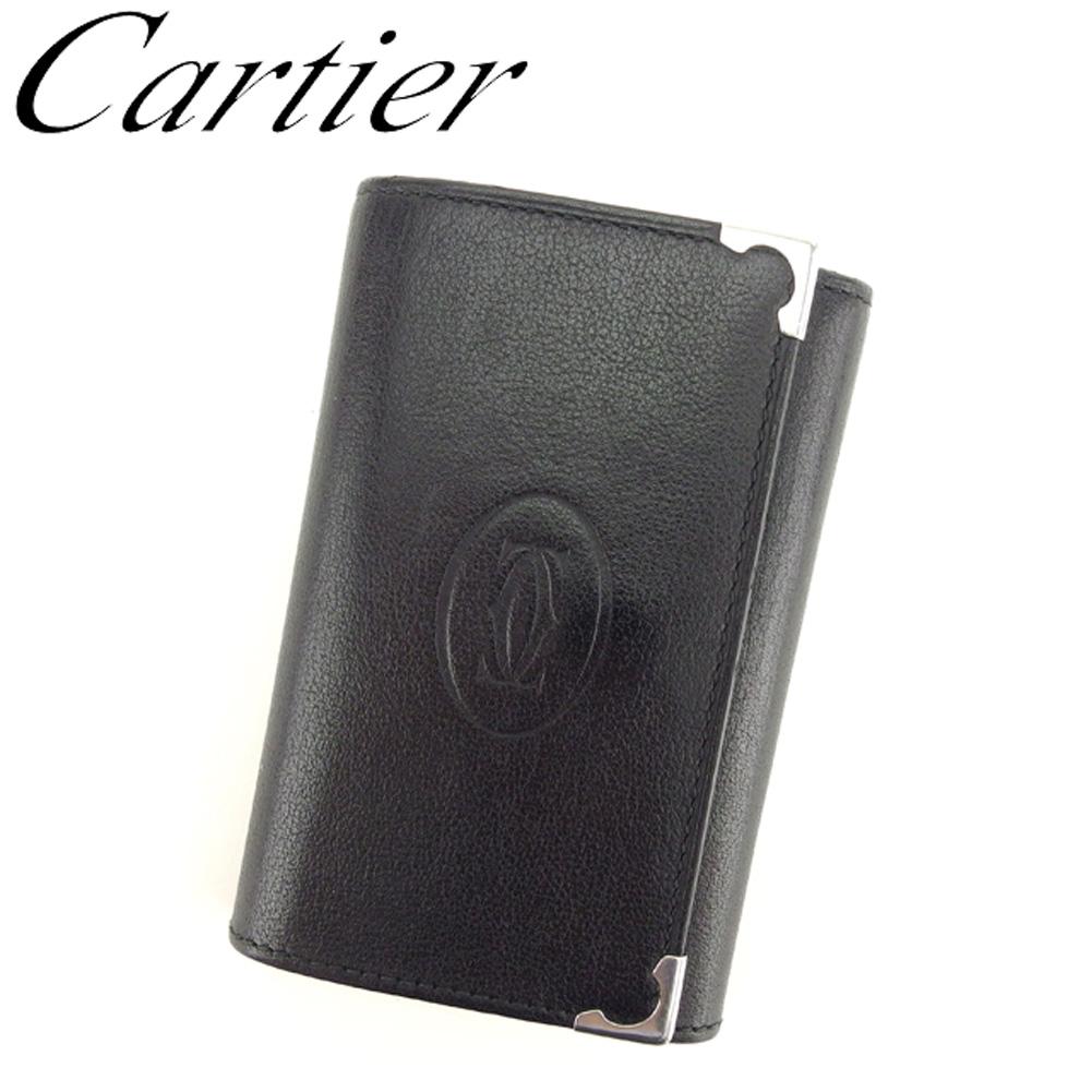 【中古】 カルティエ Cartier キーケース 6連キーケース【中古】 レディース ボルドー メンズ 美品 札入れ付き カボション ブラック シルバー ボルドー レザー 美品 セール T8179, やまよ魚房:cc5f236c --- tandlakarematspetersson.se