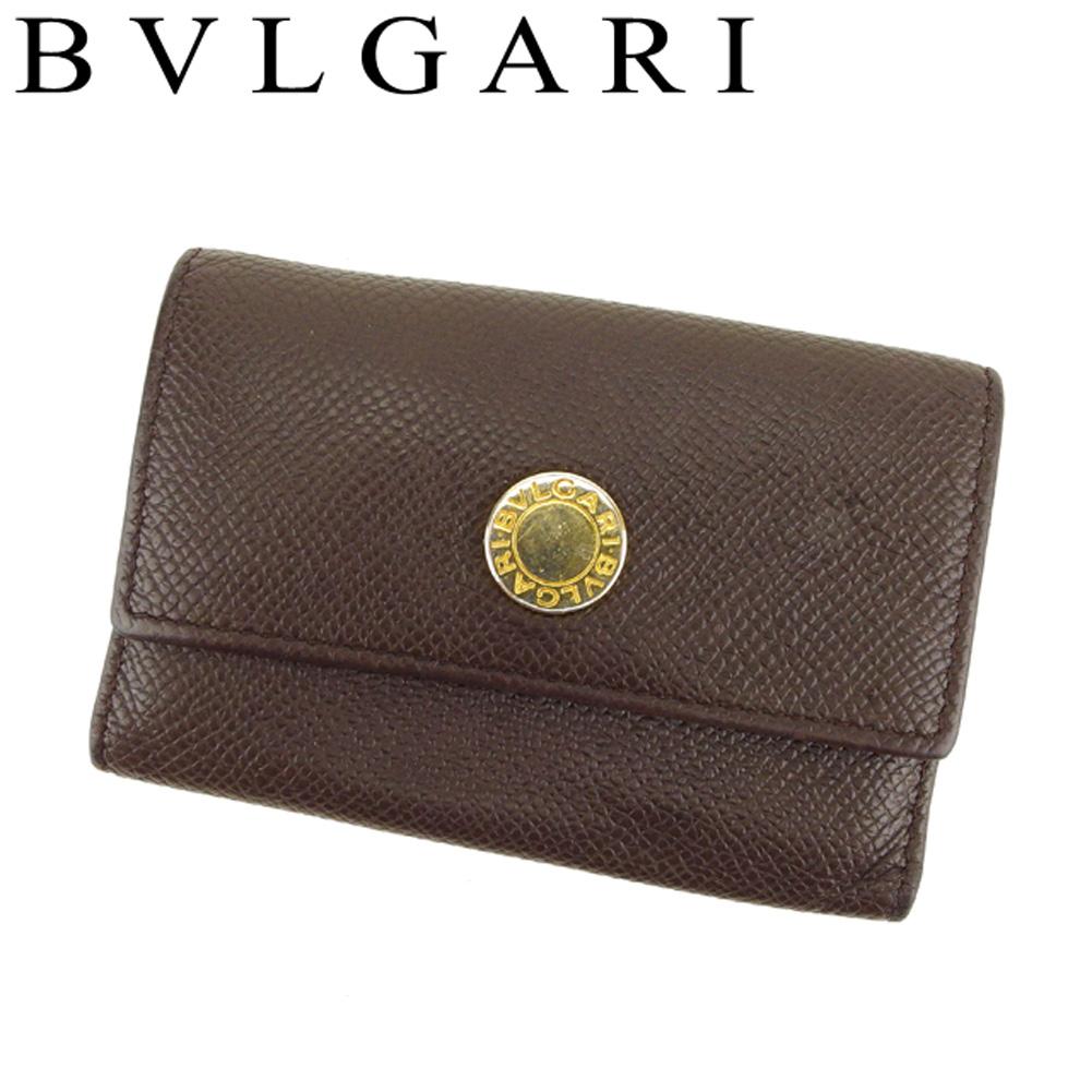 【中古】 ブルガリ BVLGARI キーケース 6連キーケース レディース メンズ ロゴボタン ブラウン ゴールド レザー 人気 セール T8199