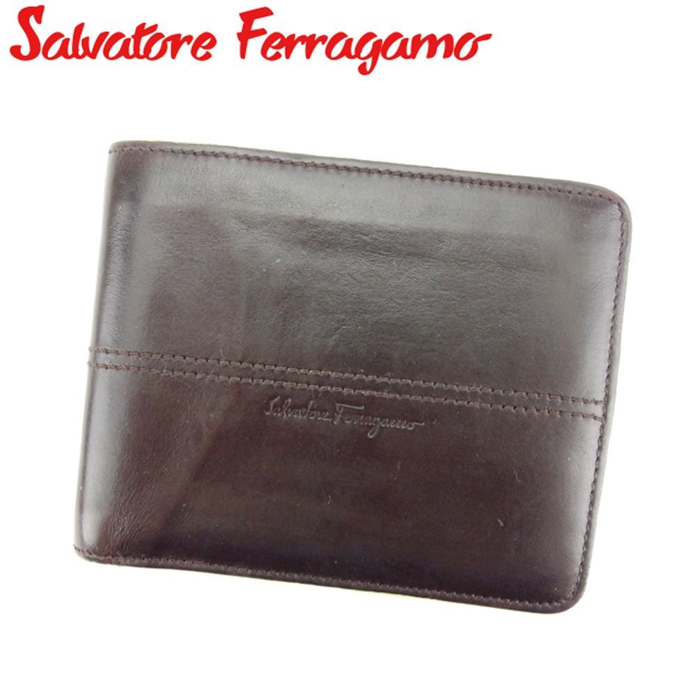 【中古】 サルヴァトーレ フェラガモ Salvatore Ferragamo 二つ折り 札入れ メンズ ブラウン ベージュ グリーン レザー T8203