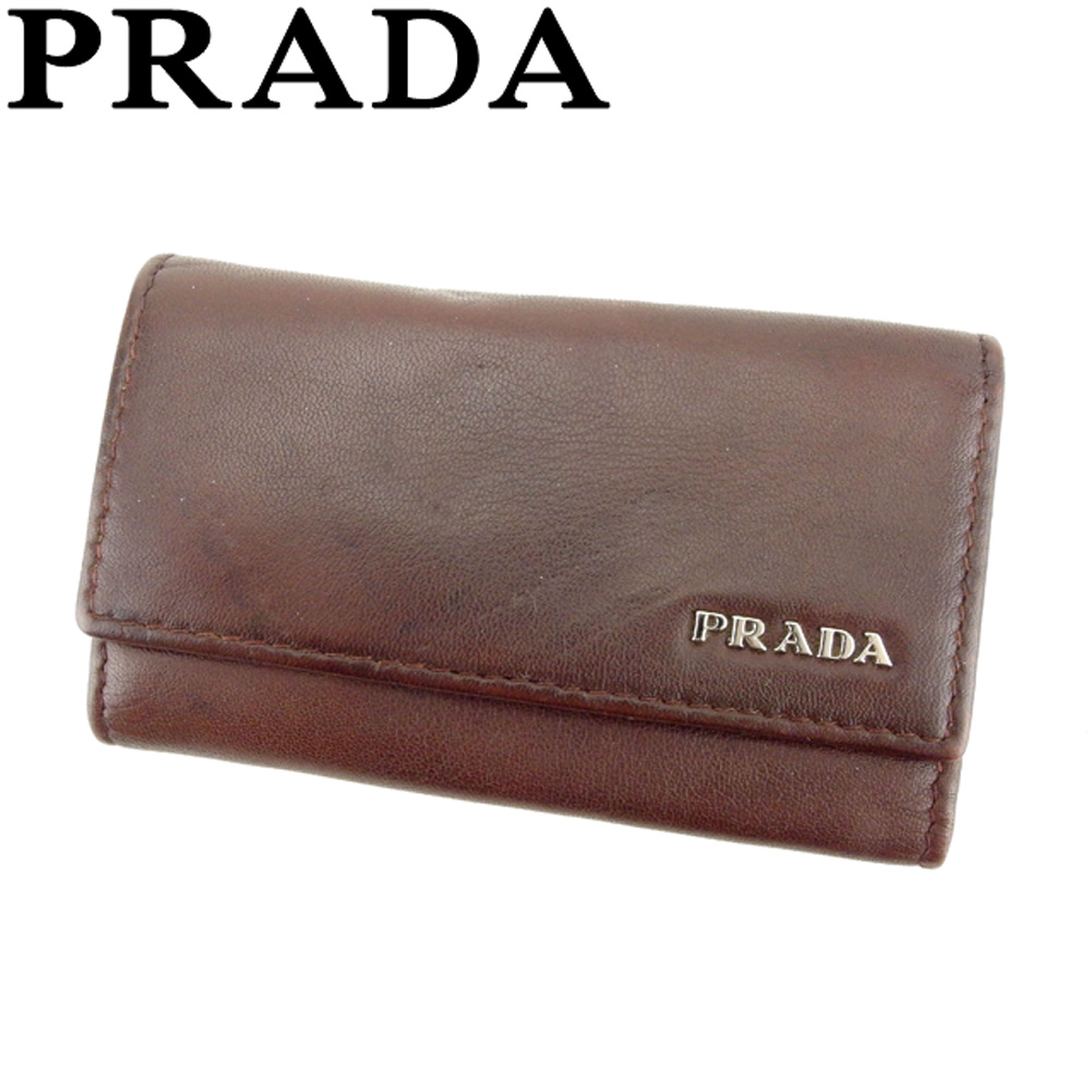 【中古】 プラダ PRADA キーケース 6連キーケース メンズ ロゴ ブラウン シルバー レザー 人気 セール T8214