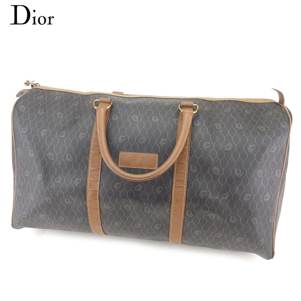 【中古】 ディオール Dior ボストンバッグ 旅行用バッグ レディース メンズ ヴィンテージディオール ブラック ブラウン PVC×レザー ヴィンテージ 廃盤 T8510