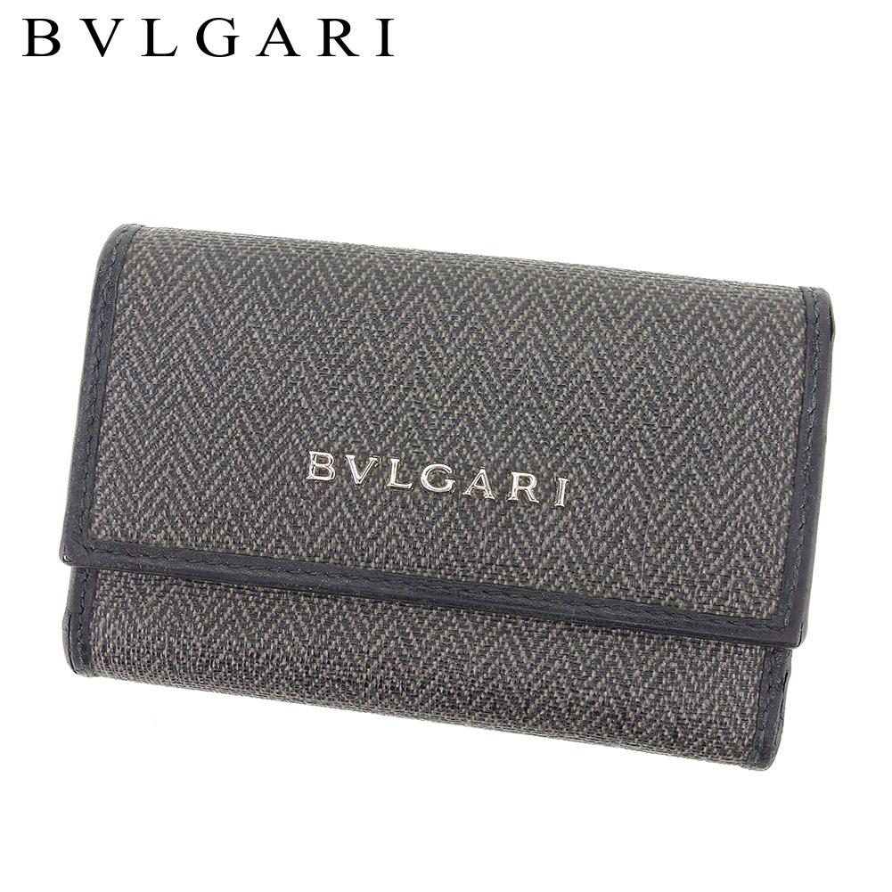 【中古】 ブルガリ BVLGARI キーケース レディース メンズ  ブラック ベージュ PVC×レザー 人気 セール T8533